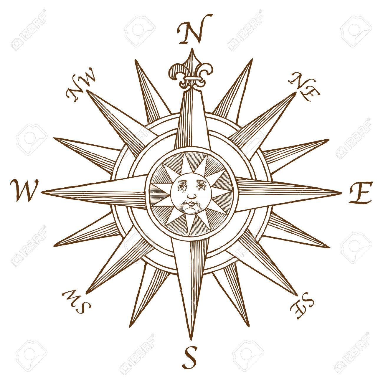 high quality vector vintage compass rose engraving with a classic