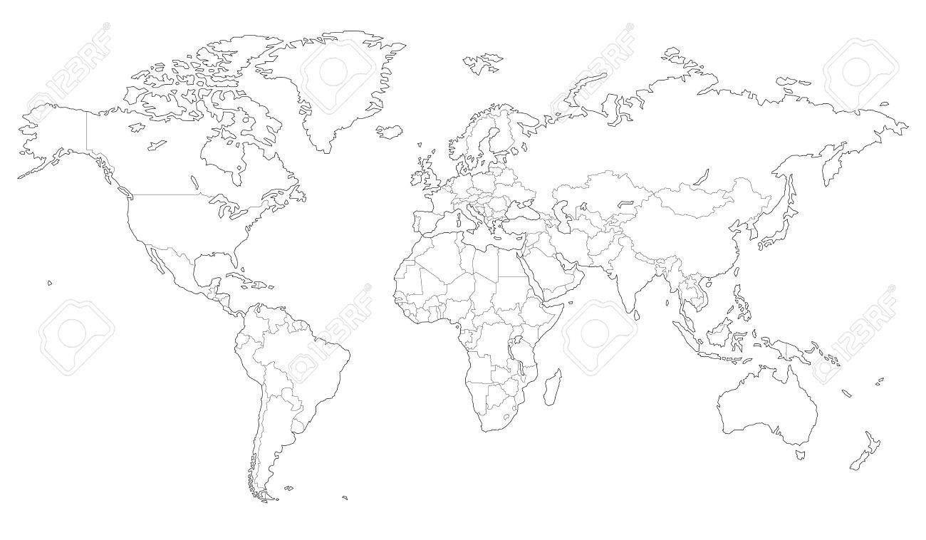 High quality outlined vector map of the world with only straight high quality outlined vector map of the world with only straight lines stock vector 71758706 gumiabroncs Images