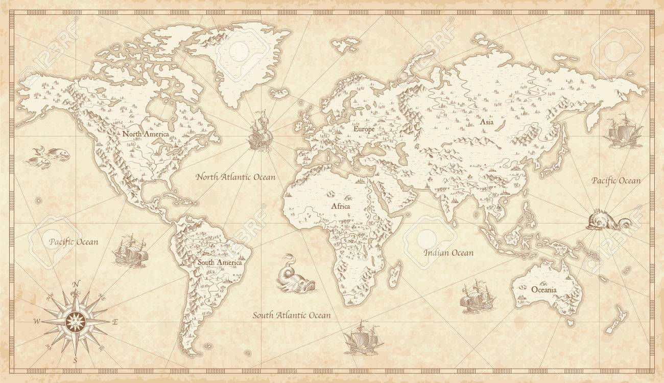 Vintage Looking World Map.Great Detail Illustration Of The World Map In Vintage Style With