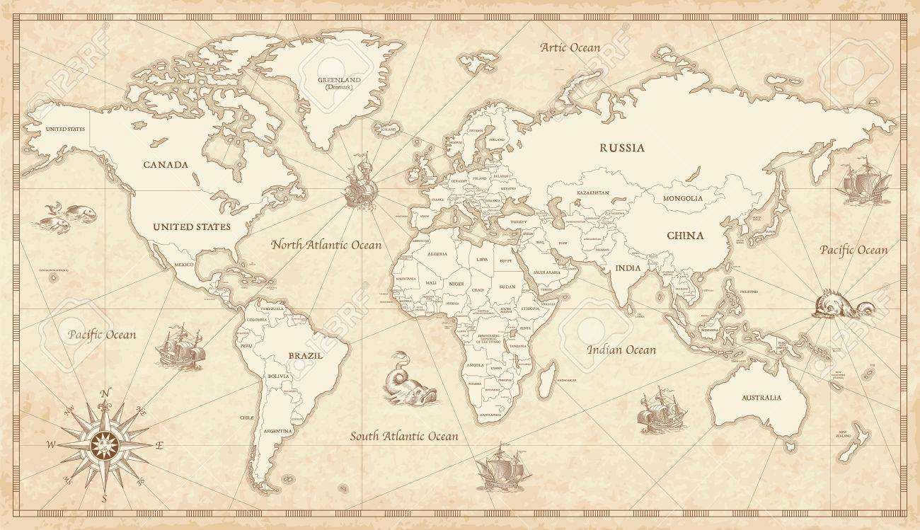 Great detail illustration of the world map in vintage style with great detail illustration of the world map in vintage style with all countries boundaries and names gumiabroncs Images