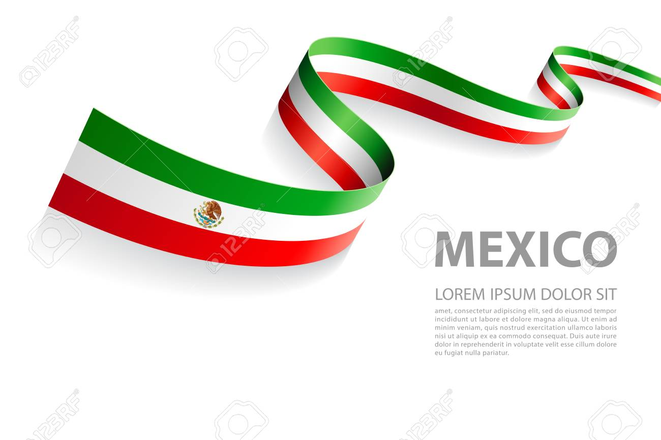 vector illustration banner with mexican flag colors in a perspective