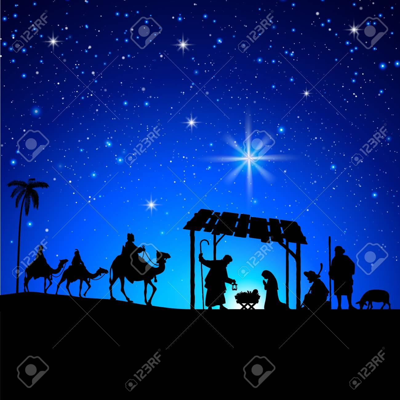 High detail Vector nativity Christmas Scene under a sky full of stars background - 85862383