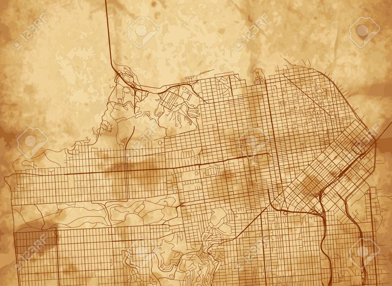 Vector Background With All Streets Of San Francisco And
