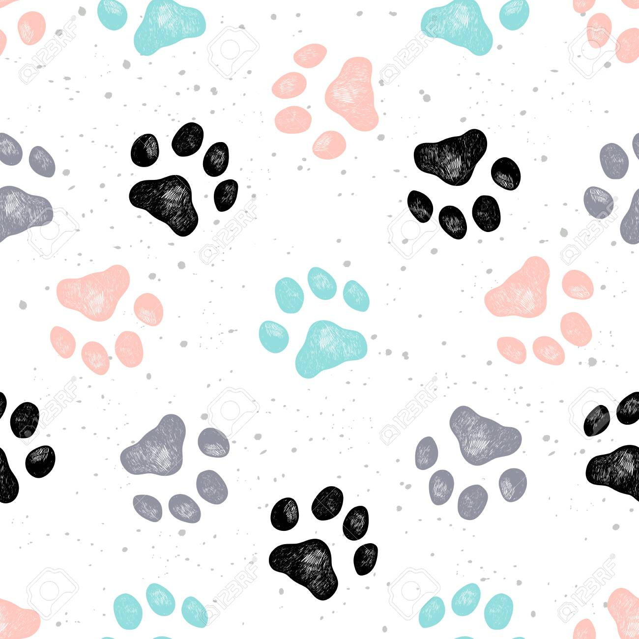 4336e3693835 Vector - Vector illustration seamless texture composed with sketches of dog  paw prints.