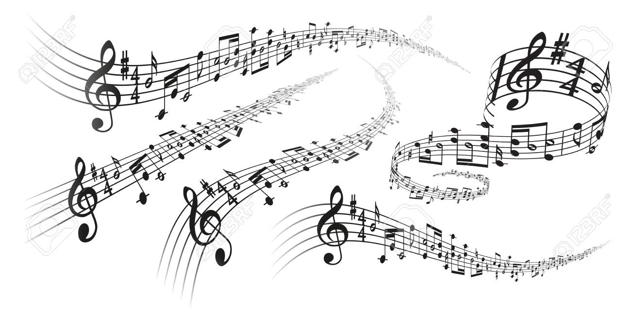 Five black vector musical score decorations with perspective deformation effects on white background - 87566329