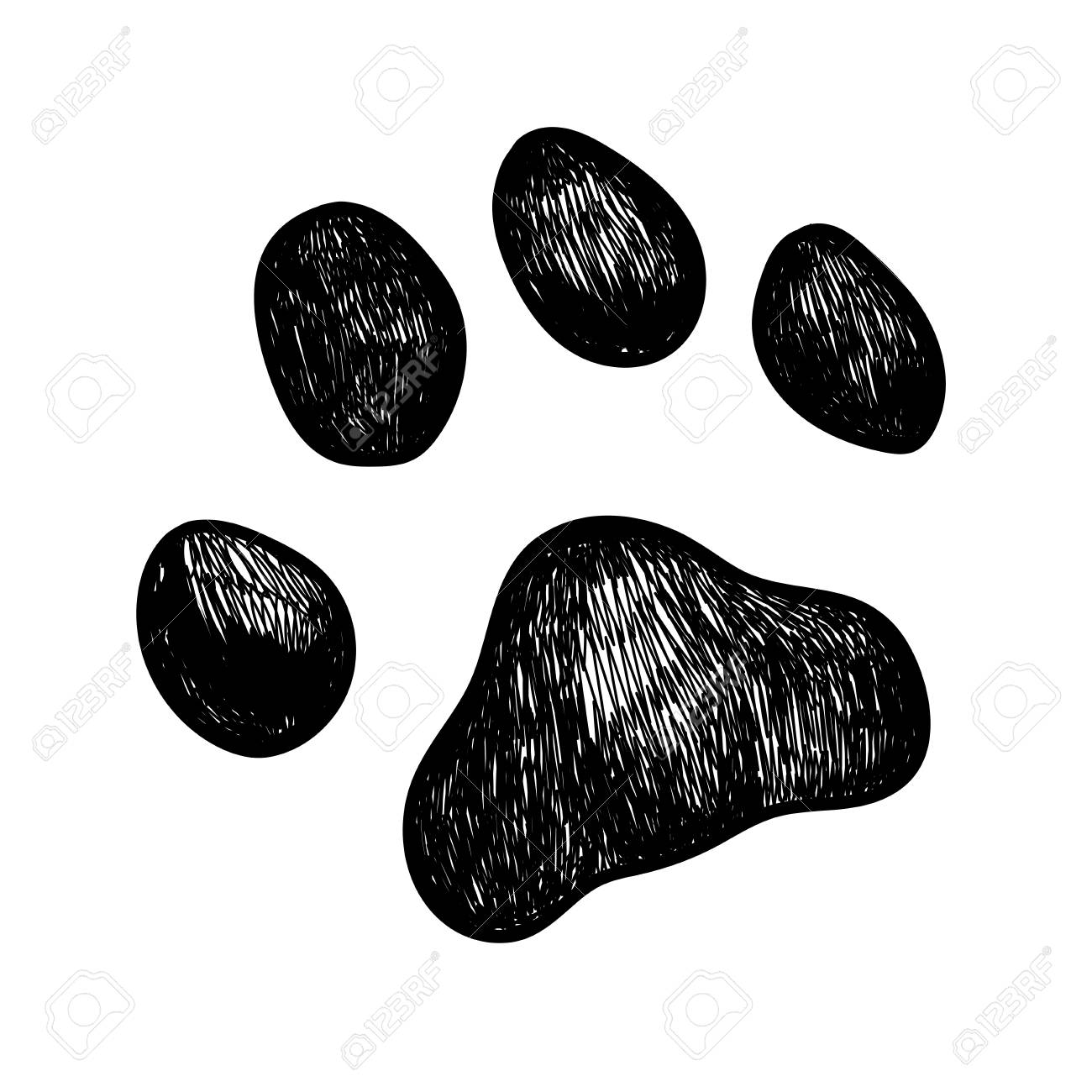 Vector Illustration Sketch Of A Dog Paw Print Royalty Free Cliparts