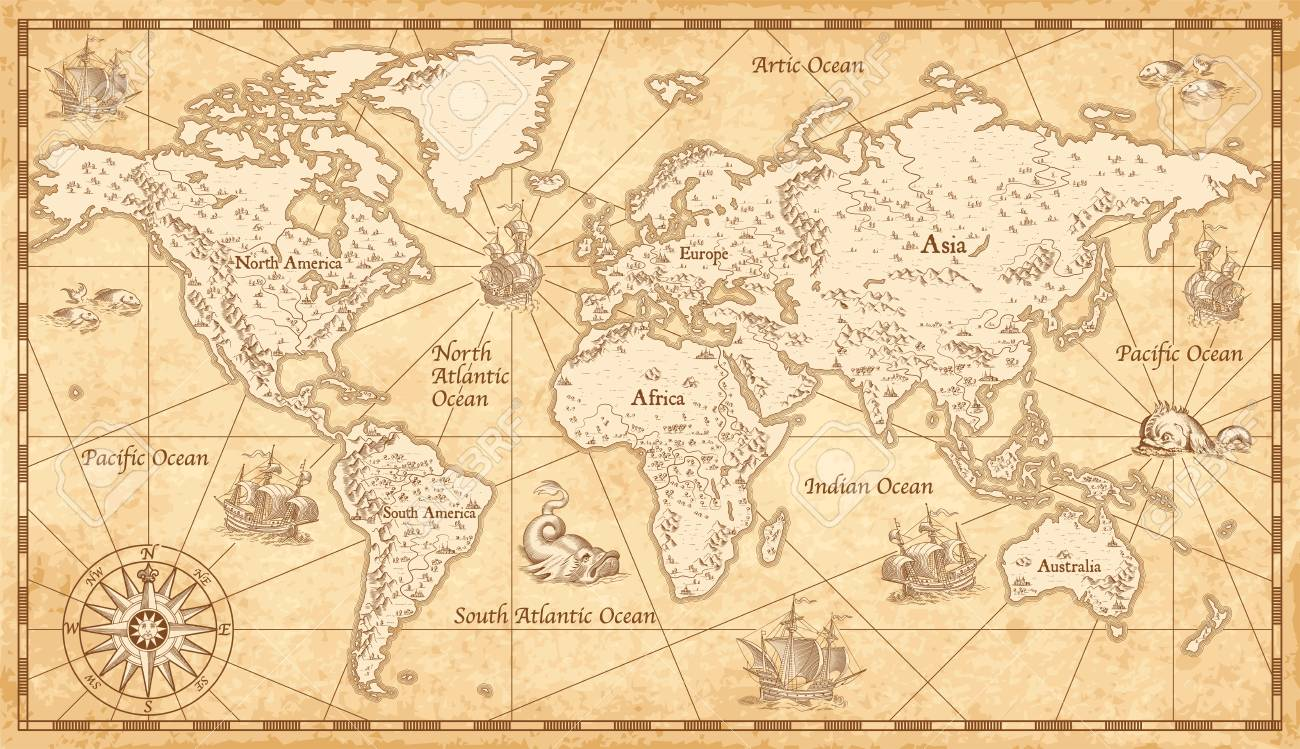 Great Detail Illustration Of The World Map In Vintage Style On Old Parchment Background Stock