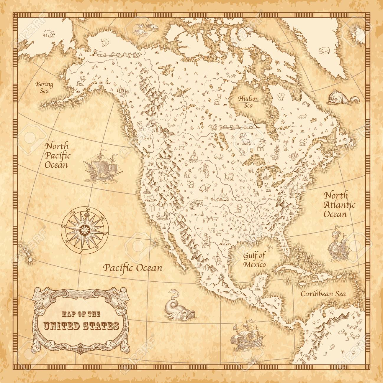 Map Of Old America.Great Detail Illustration Of The North America Map In Vintage