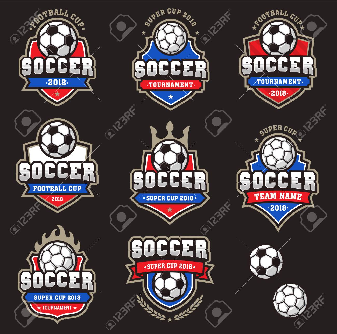 Collection of generic Football or Soccer team logos of Championship Logos - 105455711