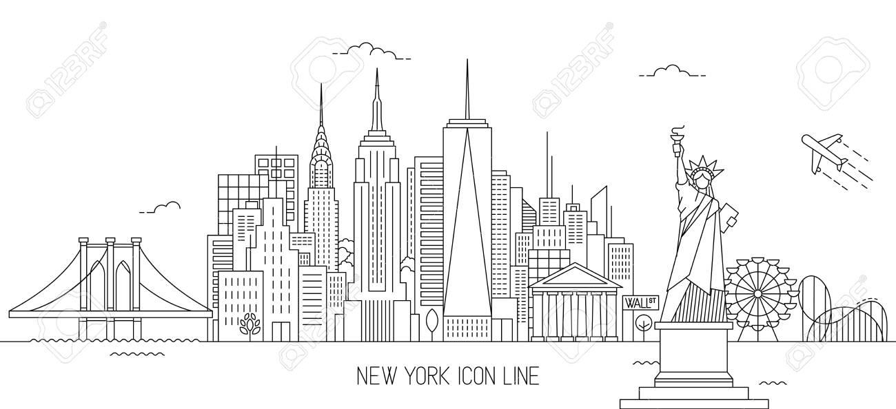 New York Skyline Vector Illustration In Line Art Style Royalty Free
