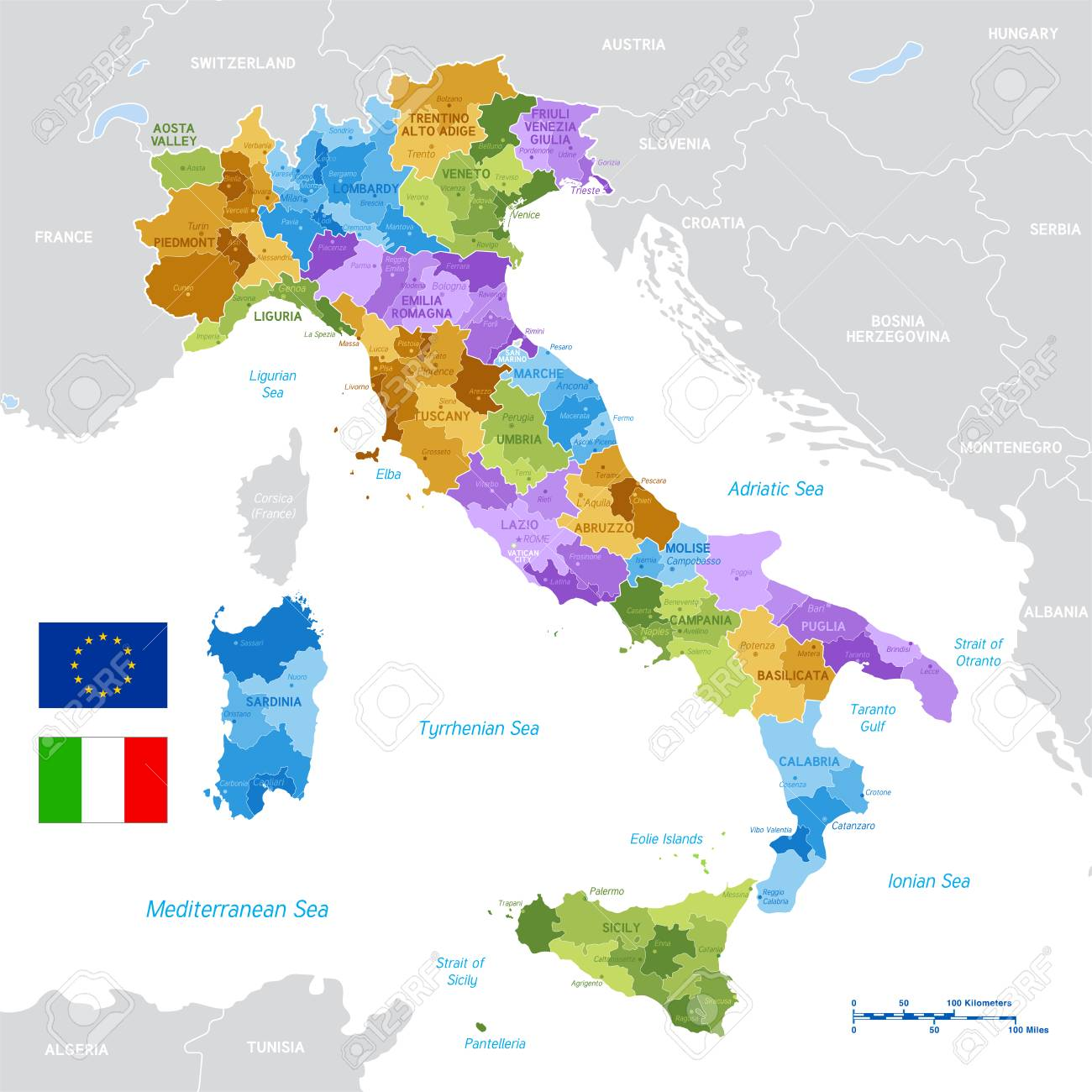 Vector Political Map of Italy with full Region and Provinces Boundaries, completed with Italian and EU flags. - 104653089