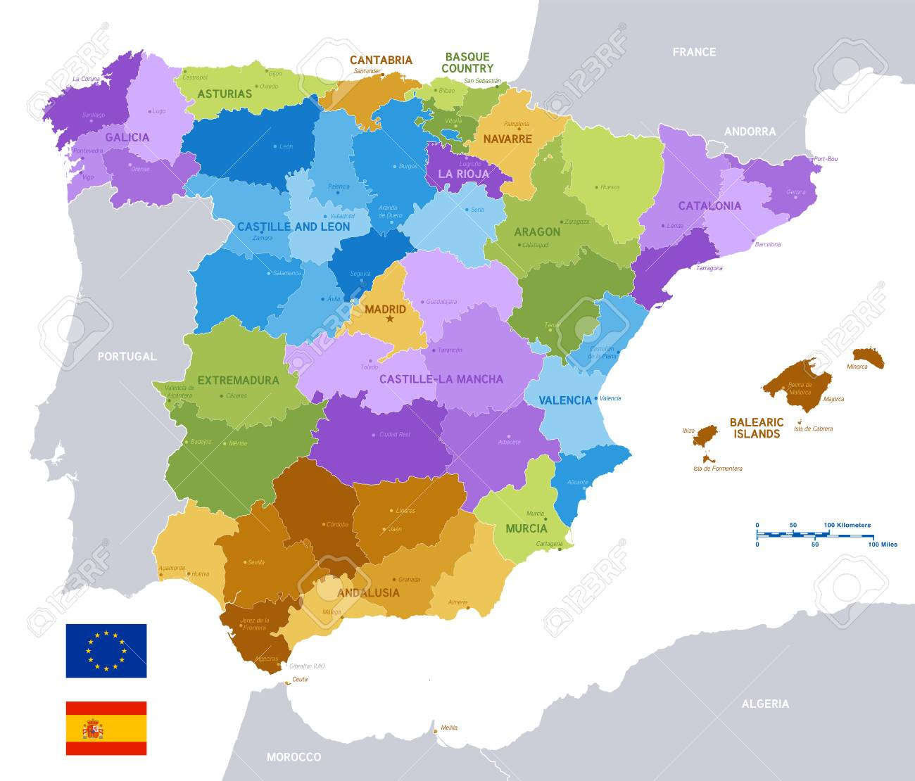 Map Of Spain By Region.Vector Political Map Of Spain With Full Region And Provinces