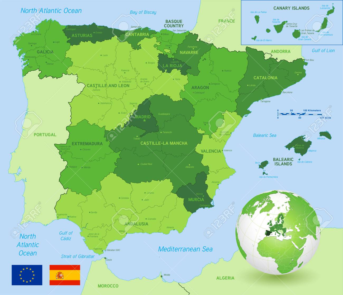 Full Map Of Spain.Vector Political Map Of Spain With Full Region And Provinces