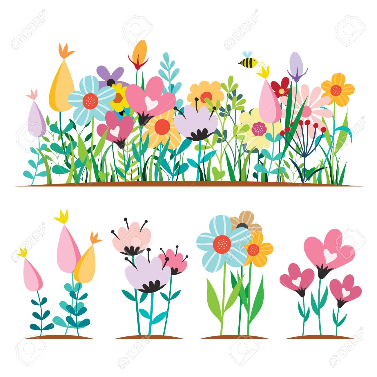 Spring Flowers Design Concepts Vector Illustrations Isolated Royalty Free Cliparts Vectors And Stock Illustration Image 115094235