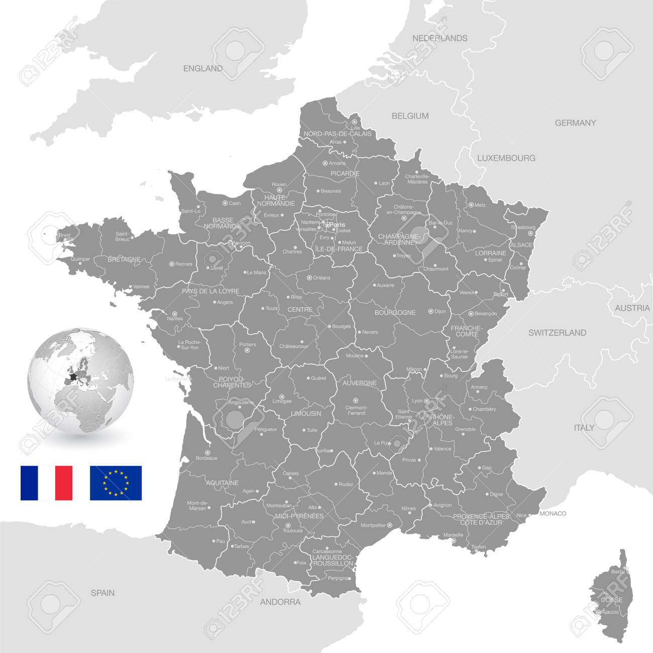 Map Of France And Bordering Countries.Grey Vector Map Of France With Administrative Borders City And