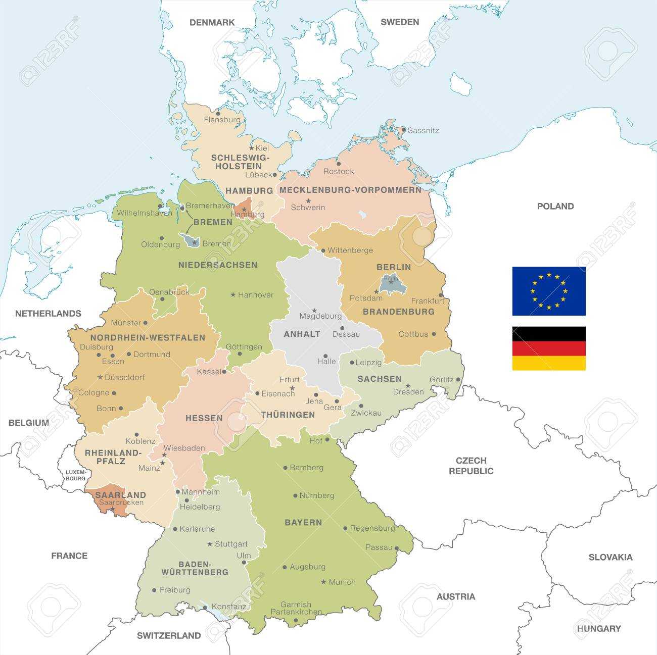 Map Of Germany With Neighbouring Countries.Vector Map Of Germany With Administrative Borders City And Region