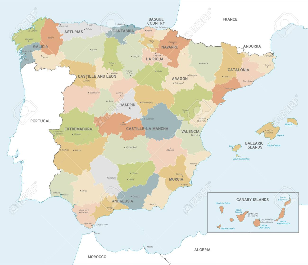 Vector Map Of Spain With Administrative Borders, City And Region ...