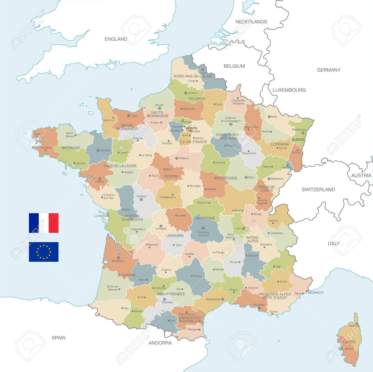 Map Of France With City Names.Vector Map Of France With Administrative Borders City And Region