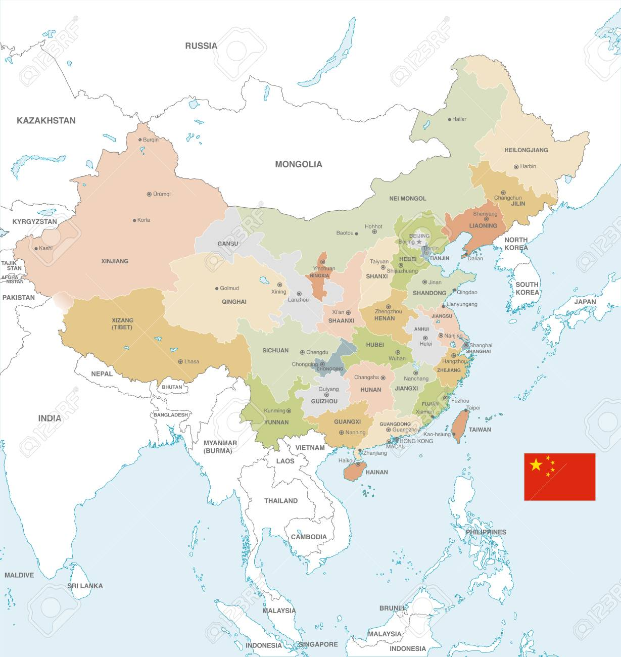 Vector Map Of China With Administrative Borders, City And Region ...