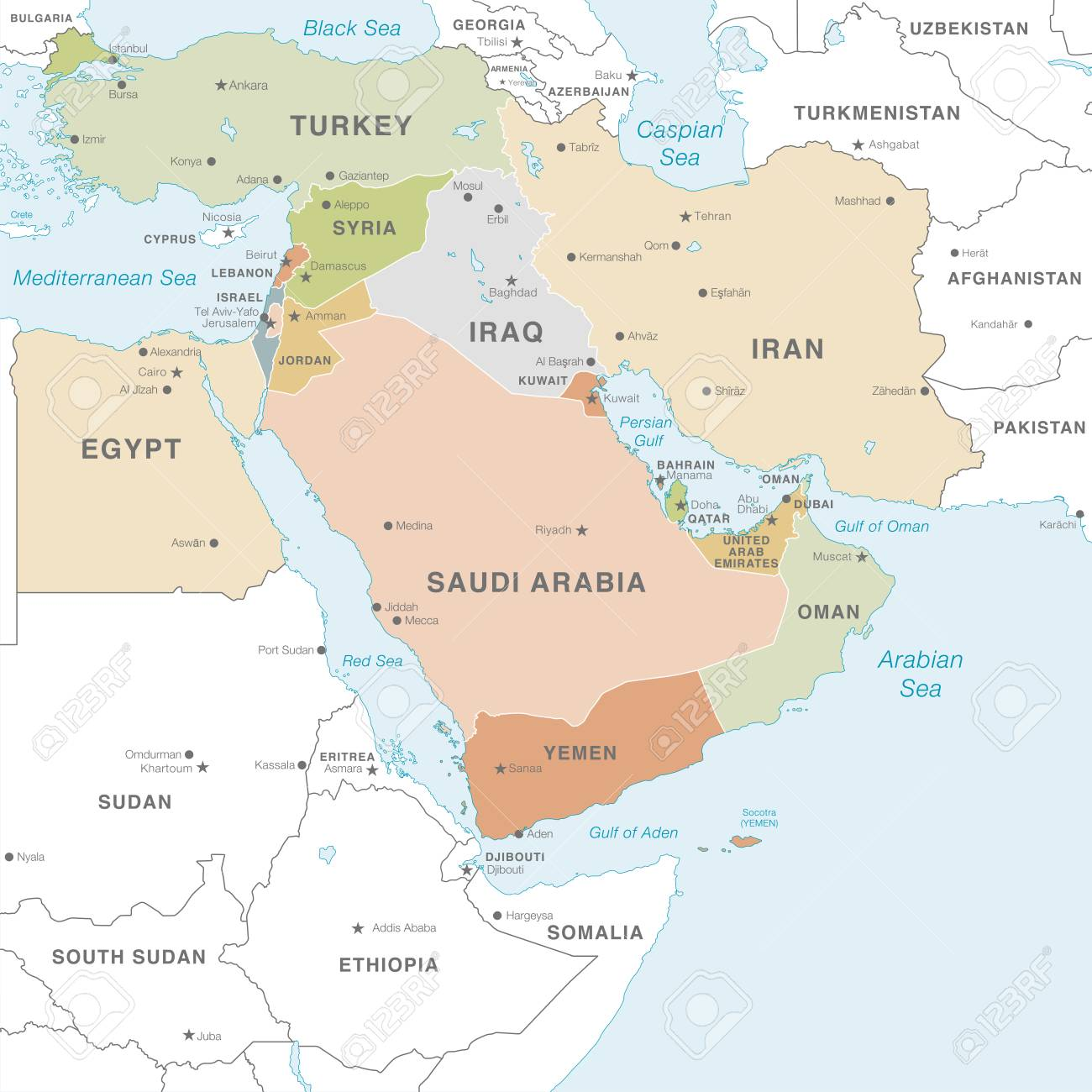 High detail map of the Middle East Zone with Countries, Capitals,