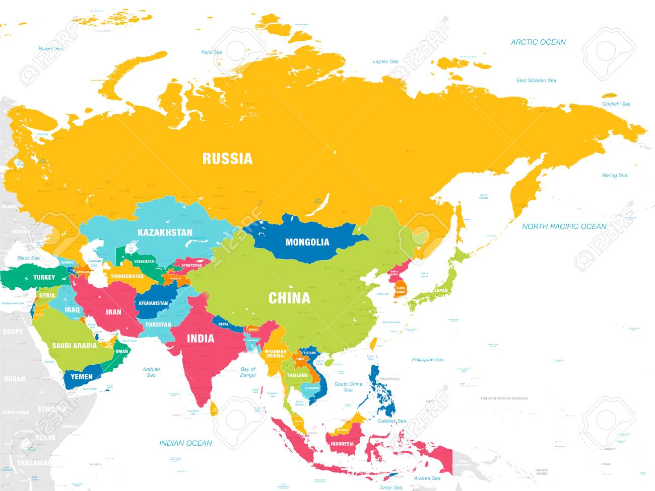 Map Of Asia Seas.Vector Map Of Asia Continent With Countries Capitals Main Cities