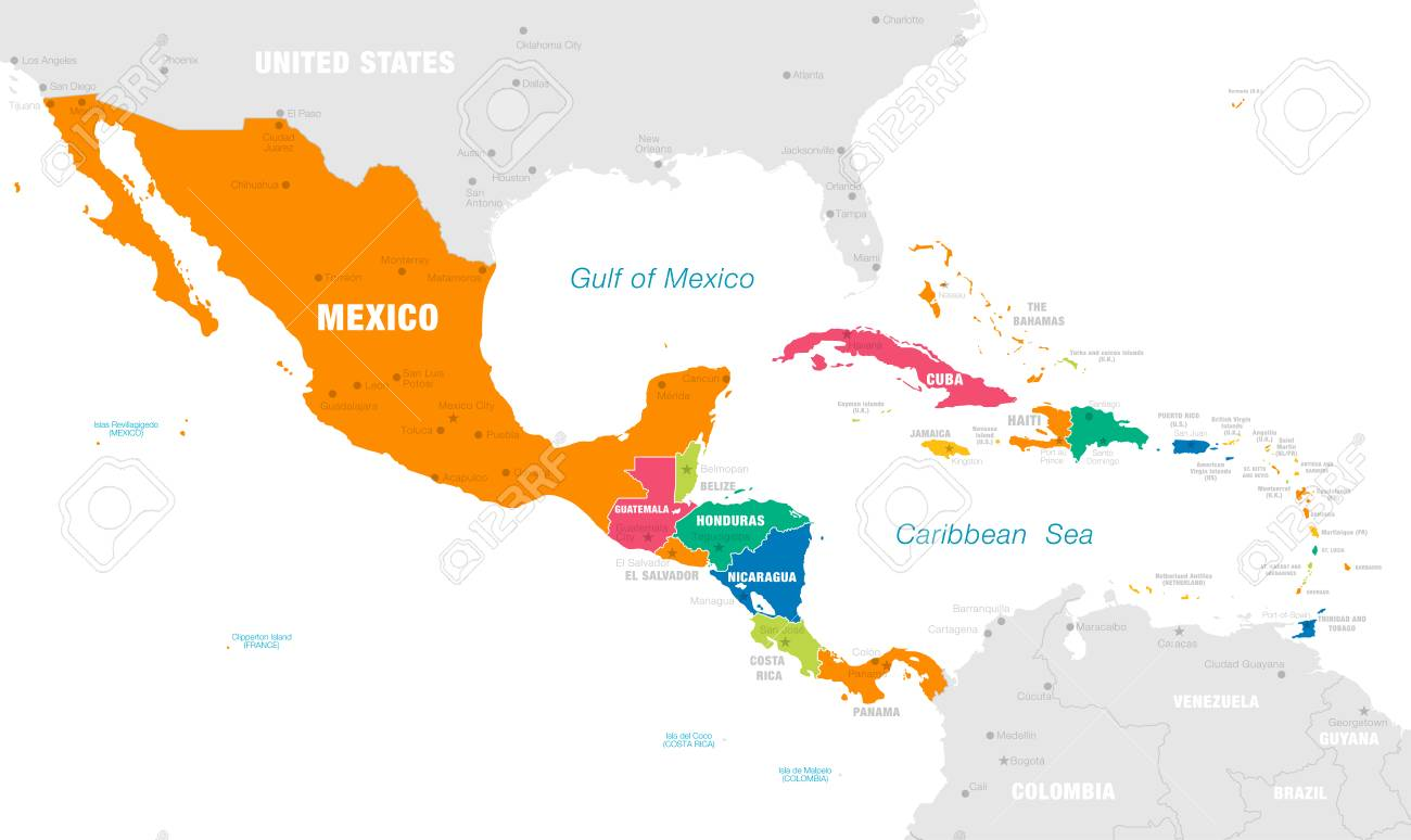 Vector Map Of Central America With Countries, Capitals, Main ...
