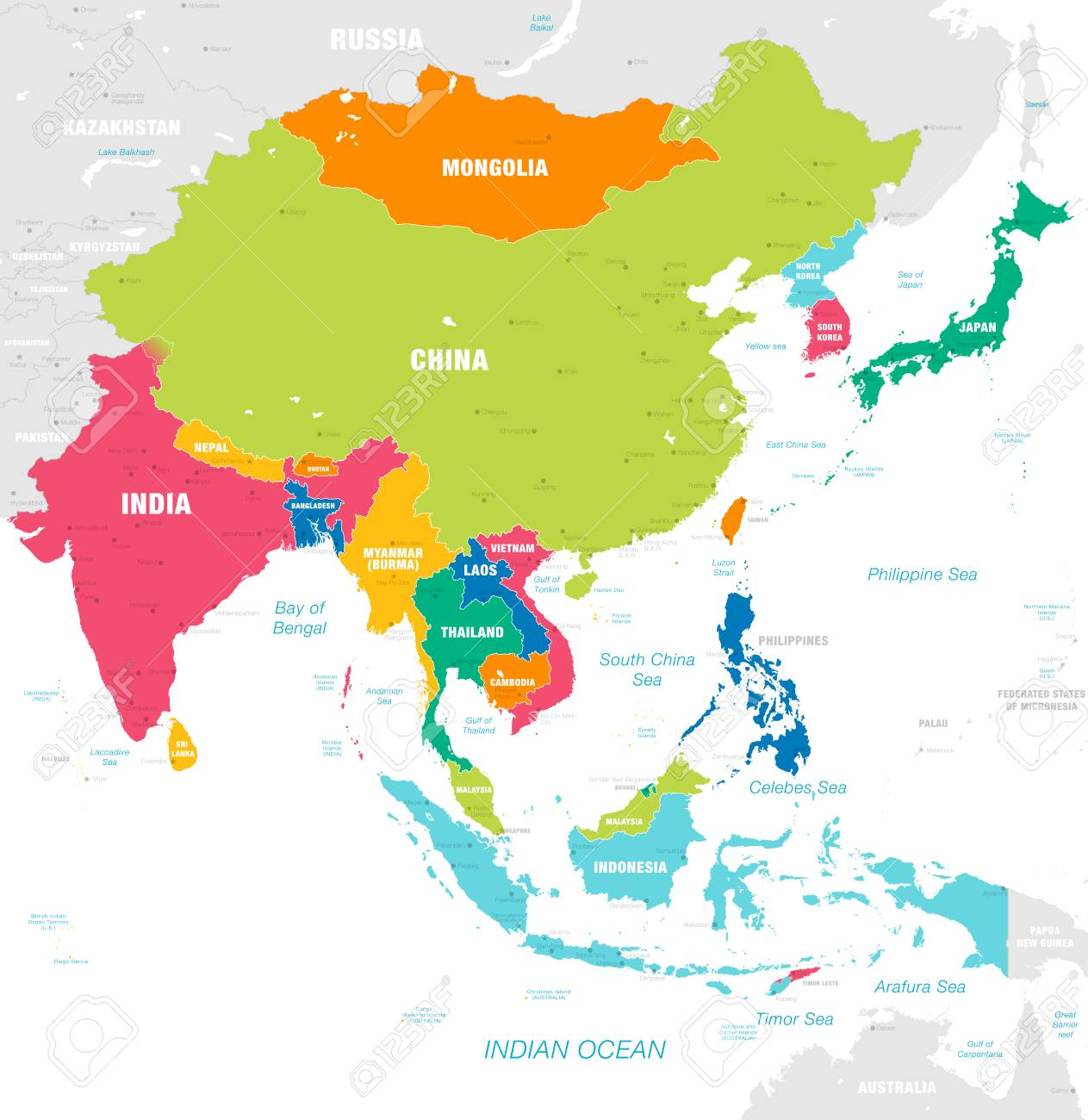 Map Of Asia With Capitals And Countries.Vector Map Of East Asia Continent With Countries Capitals Main