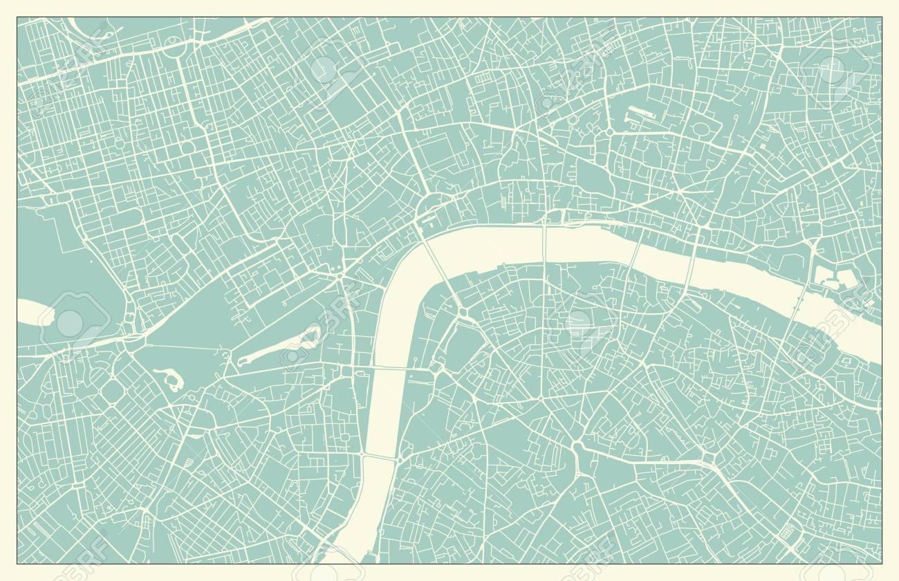 Free London Street Map.Modern London City Center Street Map In Vintage Style