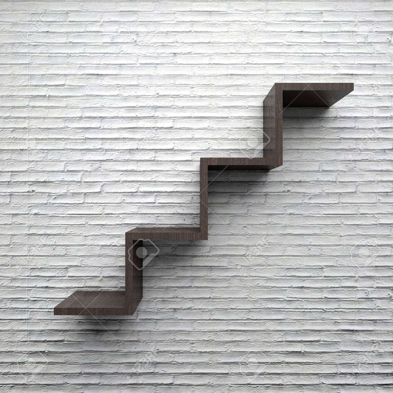 Etagere Sur Mur En Brique bois étagère escalier mur de brique blanche