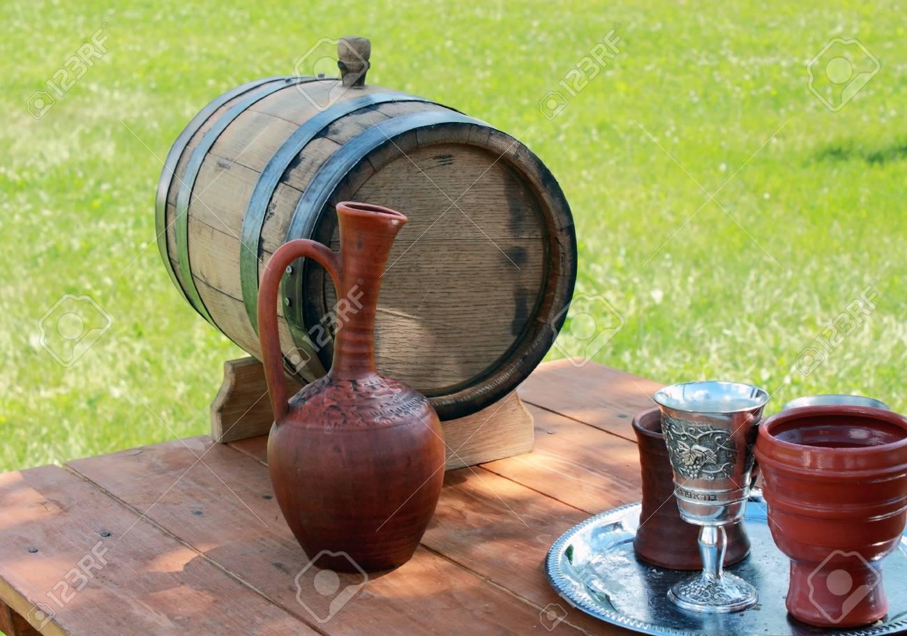 Items Ancient Slavic Life A Wooden Barrel Of Wine A Clay Jug