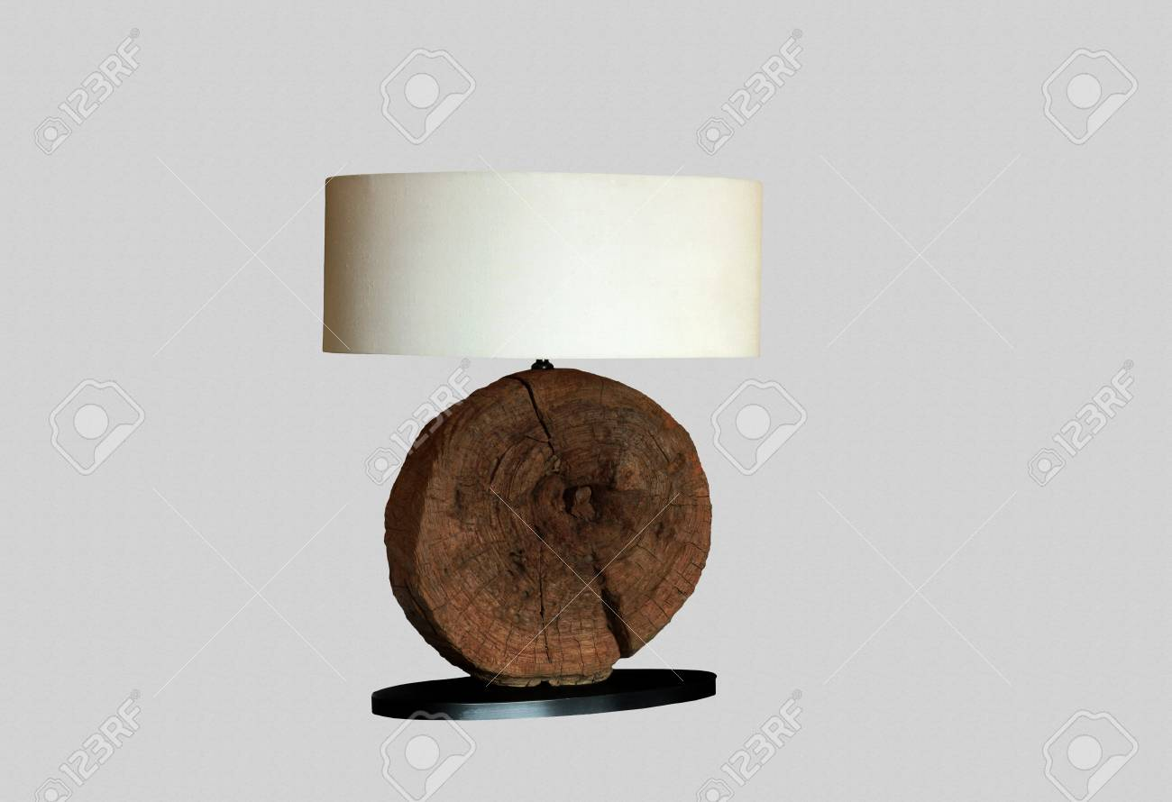 f4b41a00b8ce Desk lamp with white textile lampshade and decorative wooden basis Stock  Photo - 26047498