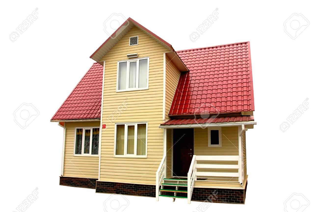 Casa Con Terraza Blanco Y Marrón Techo Sobre El Fondo Blanco