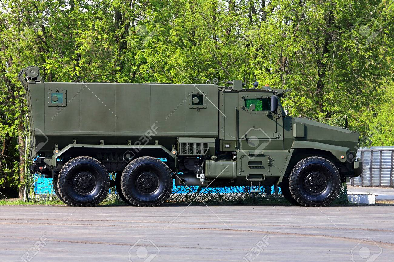 Military All Terrain Truck With A Metal Frame And Box Body Stock ...