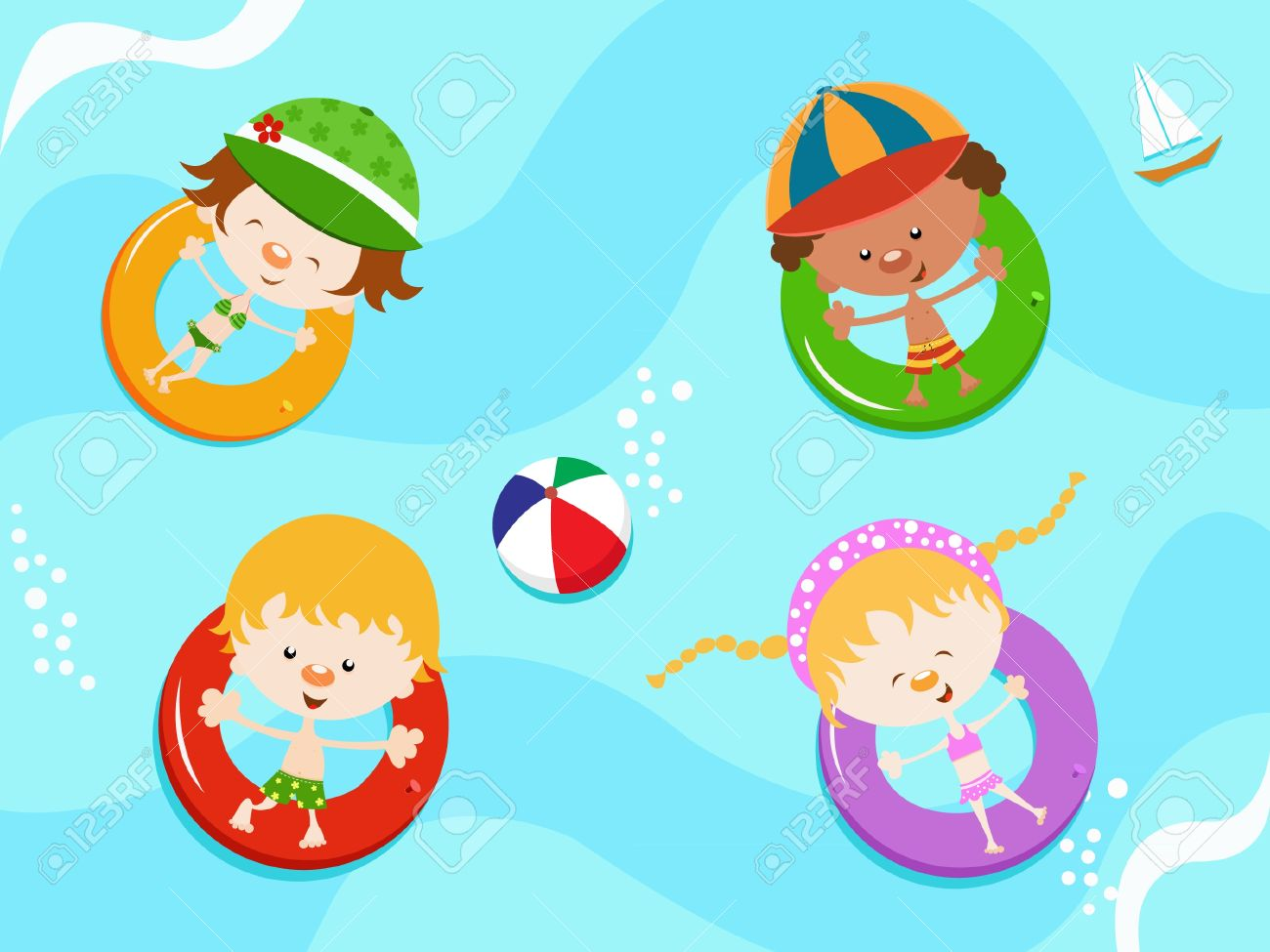 Kids floating with inner tubes Stock Vector - 9996128