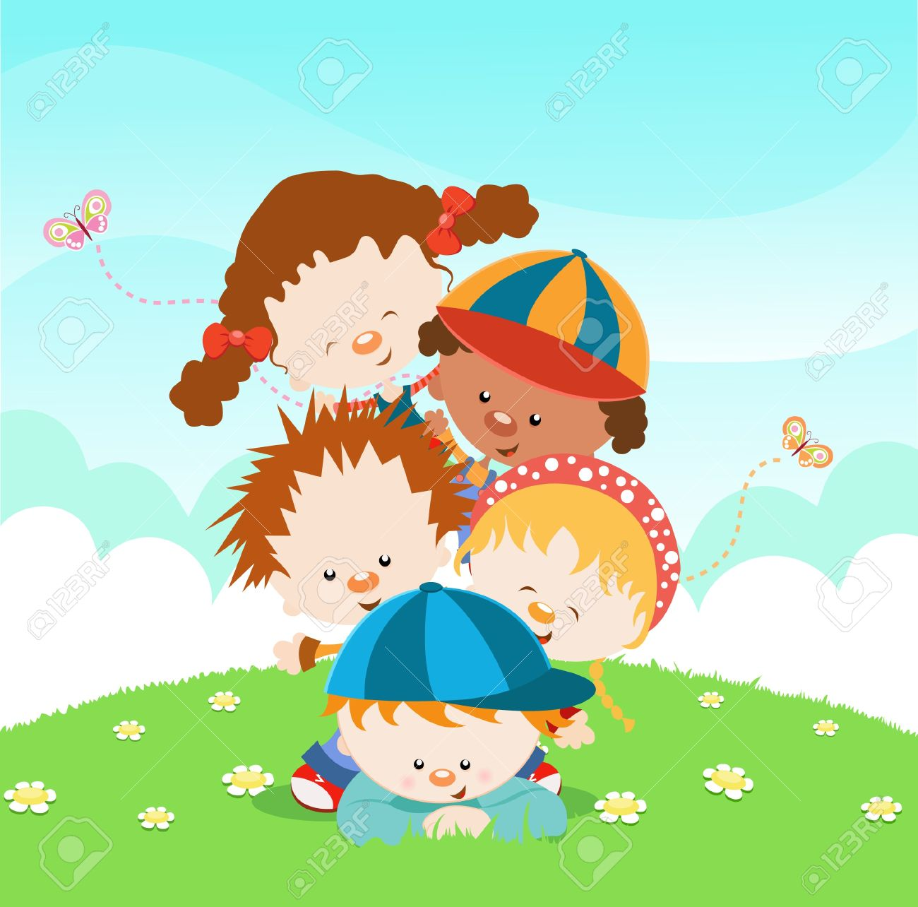 Cute Little Kids Piled Up Stock Vector - 10042376