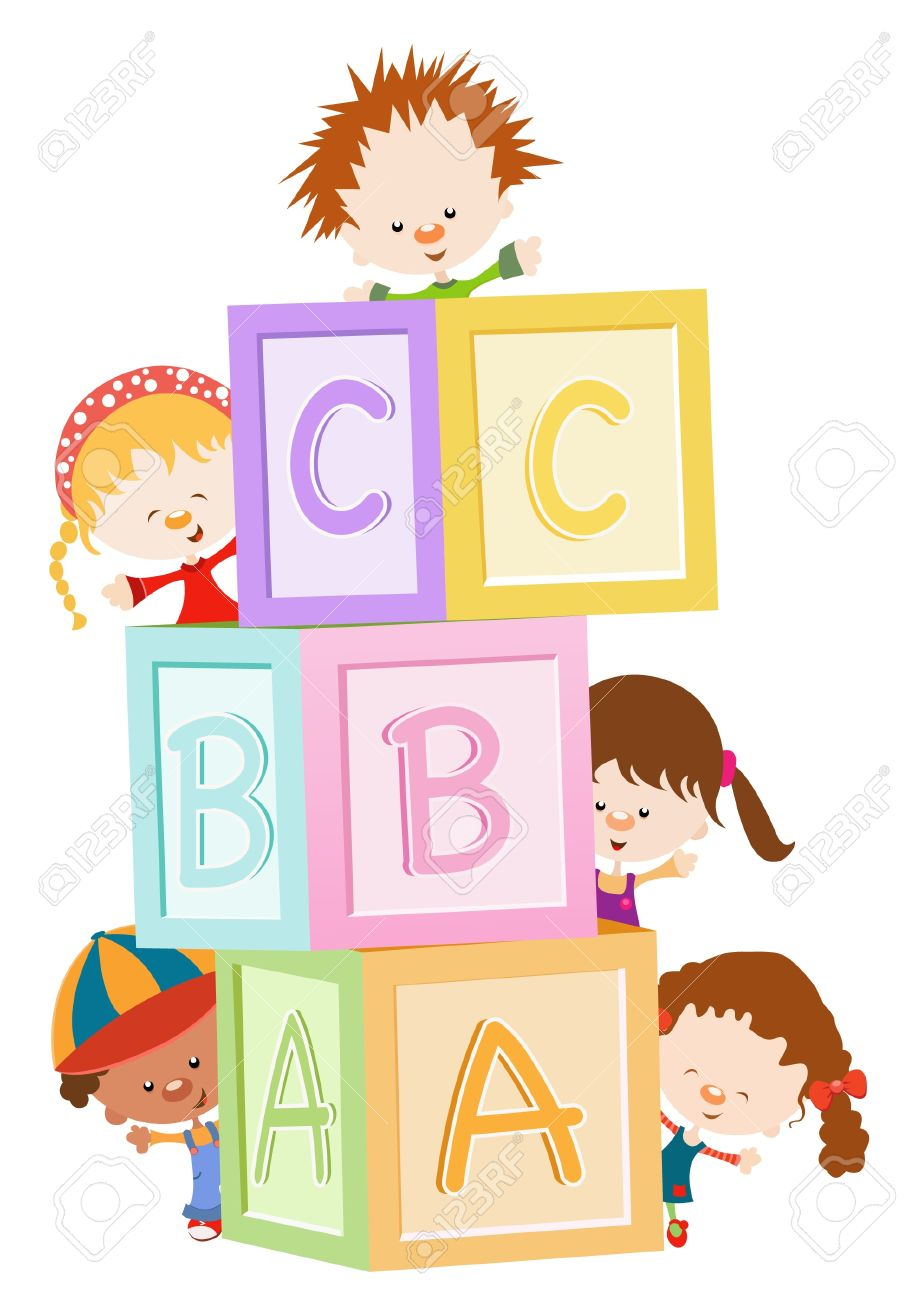 Kids Playing With Blocks Stock Vector - 10042370