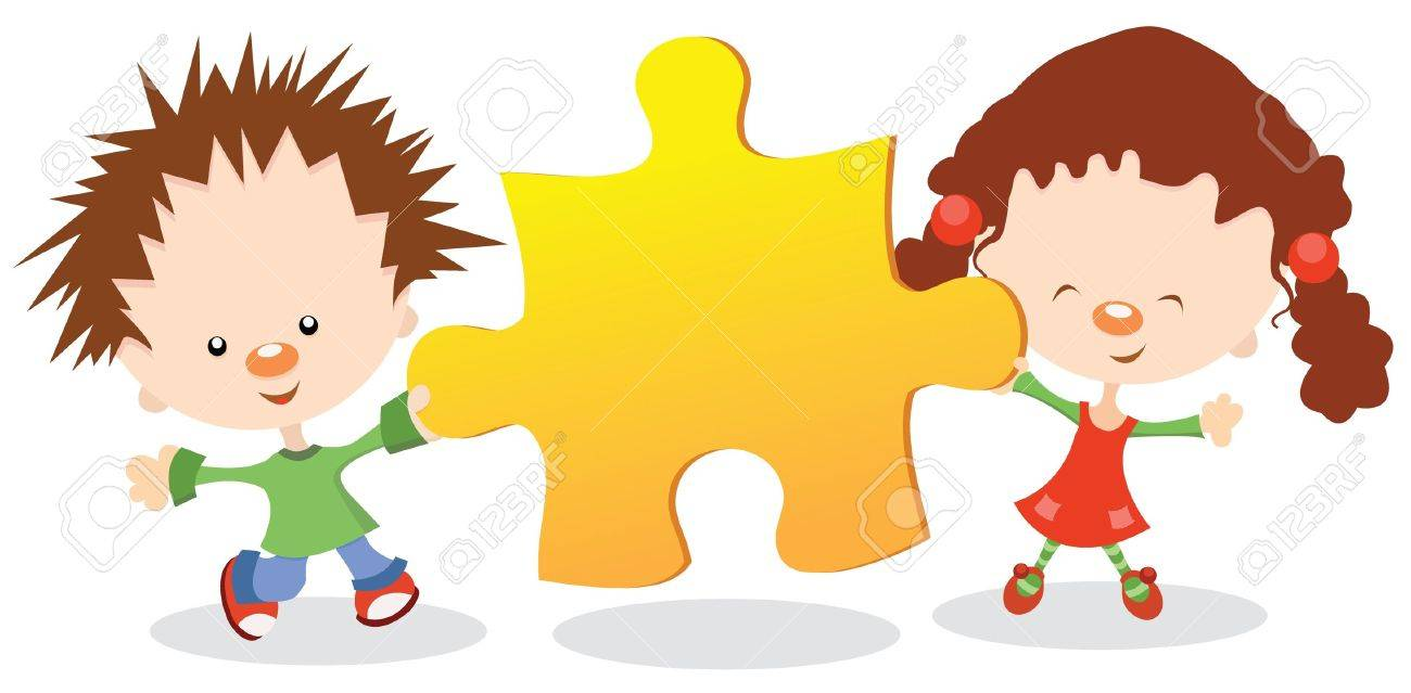 kids holding puzzle peace royalty free cliparts vectors and