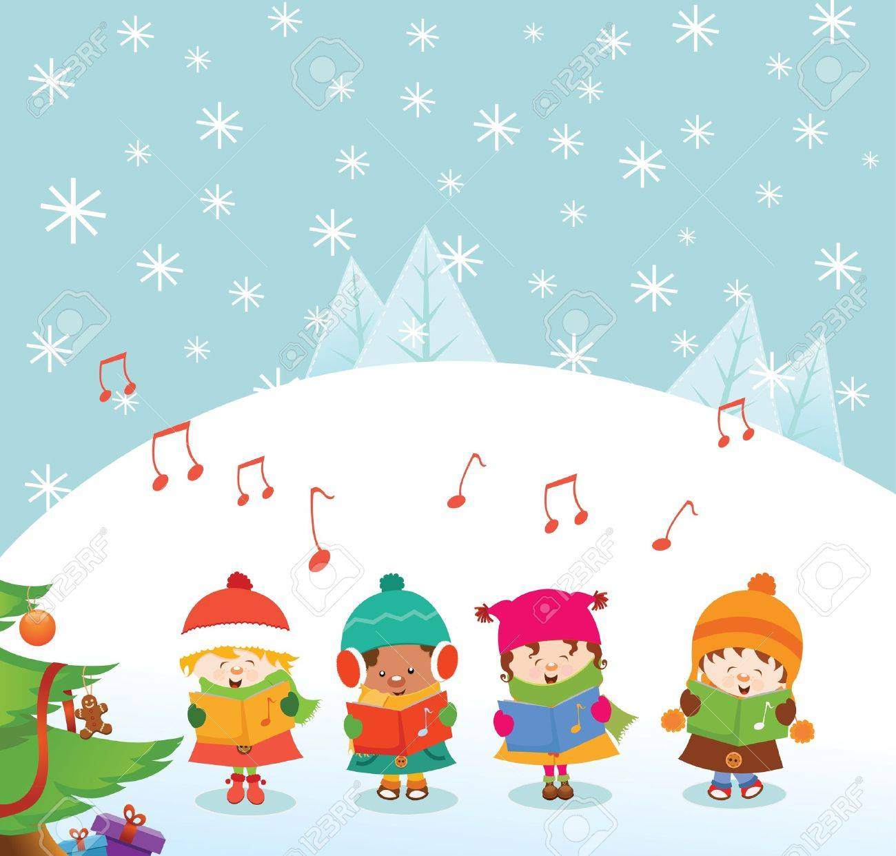 Caroler Kids Stock Vector - 11602242