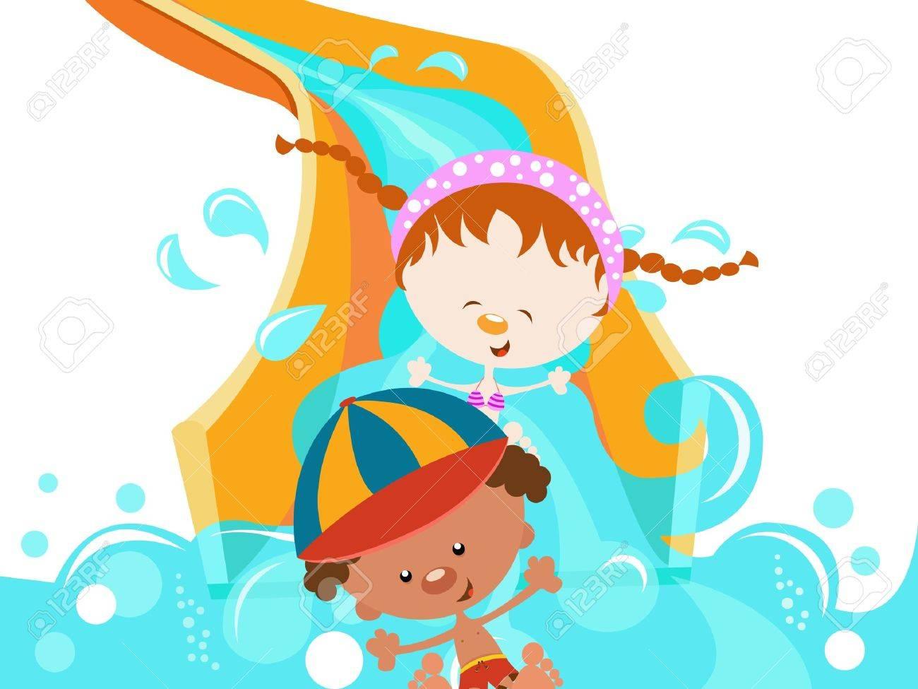 Kids On Water Slide Stock Vector - 11602228