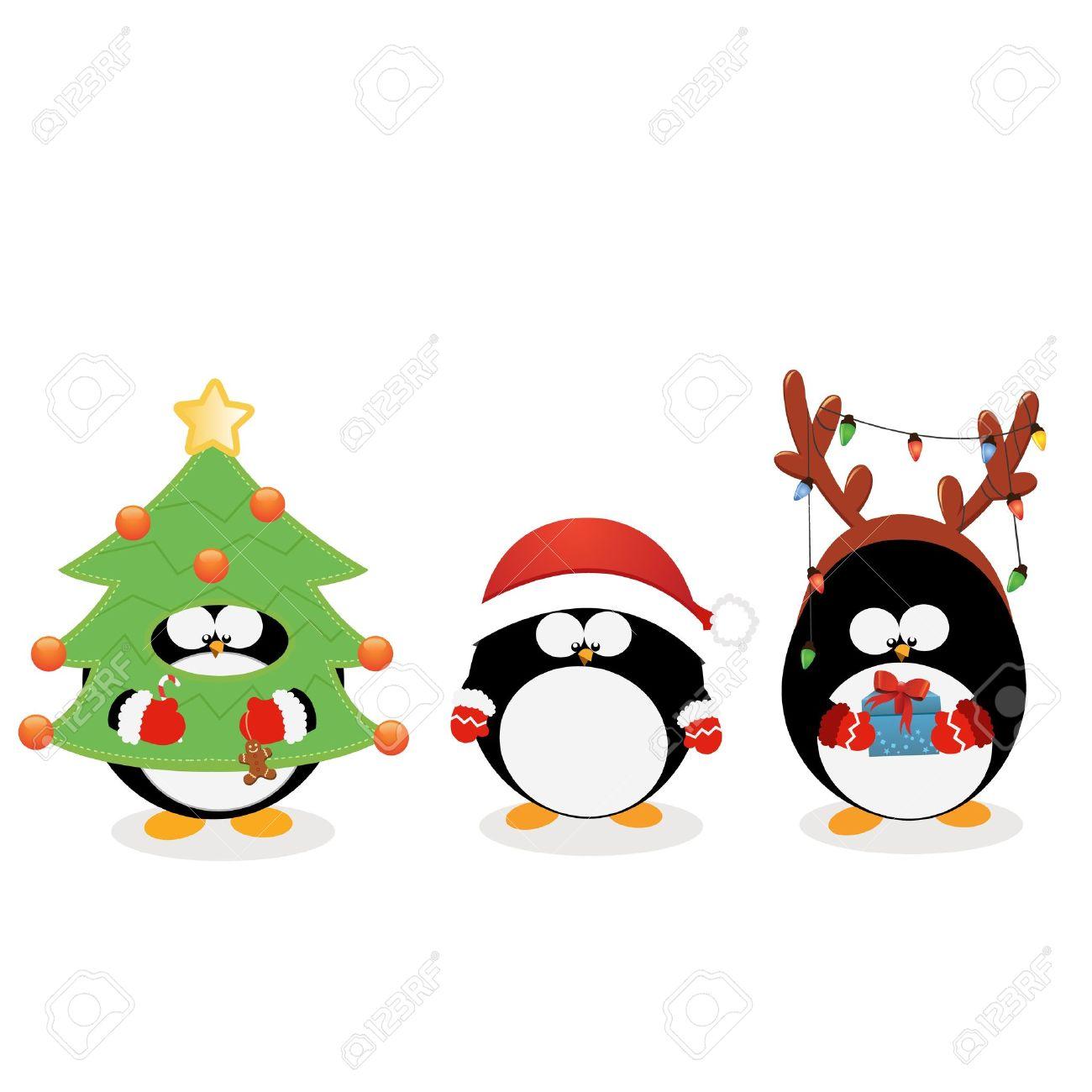 pingouin noel Pingouin De Noël Ensemble Clip Art Libres De Droits , Vecteurs Et  pingouin noel