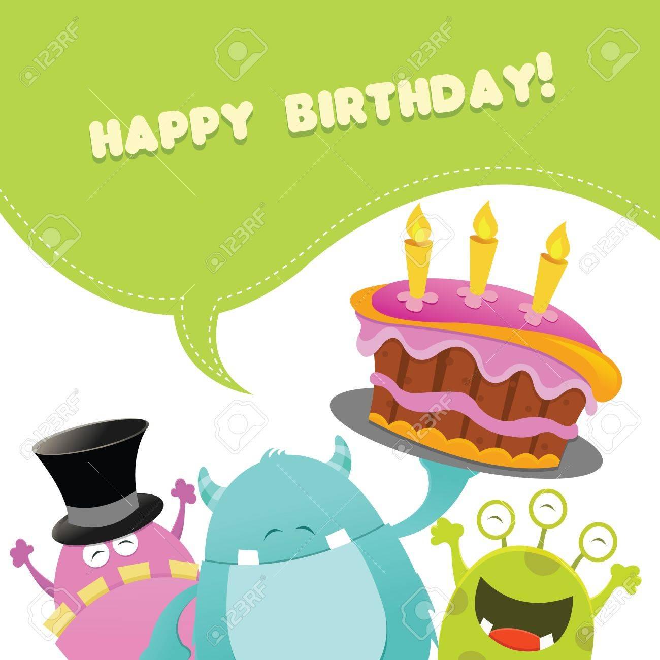 Birthday Monsters Card Stock Vector - 20172270