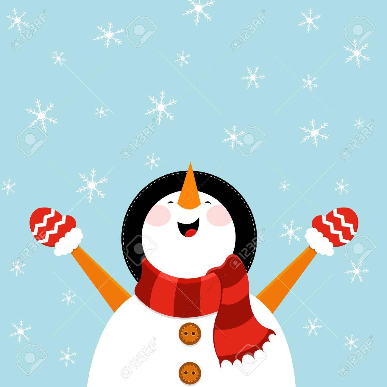 Snowman Enjoying Snow - 22899422