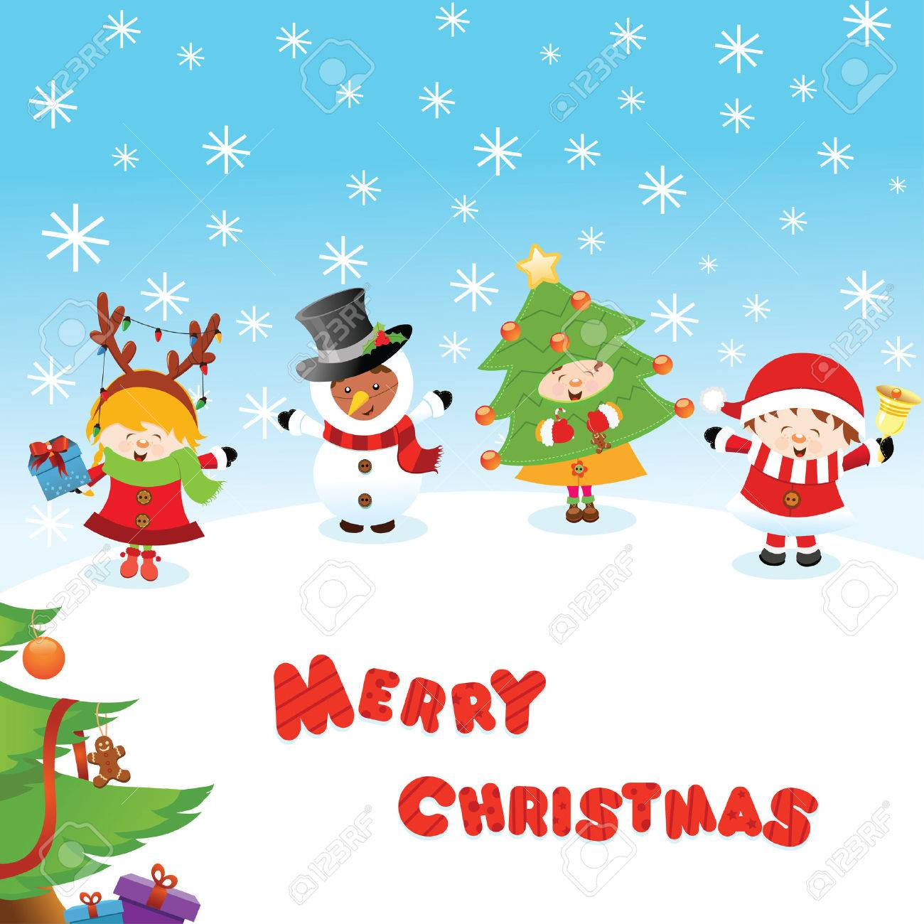 Costumed Kids Christmas Message Royalty Free Cliparts, Vectors, And ...