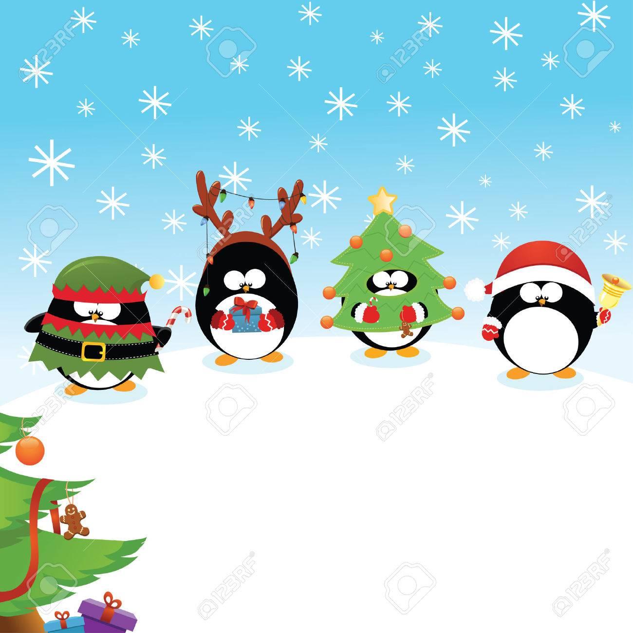 Christmas Penguins Card - 34246072