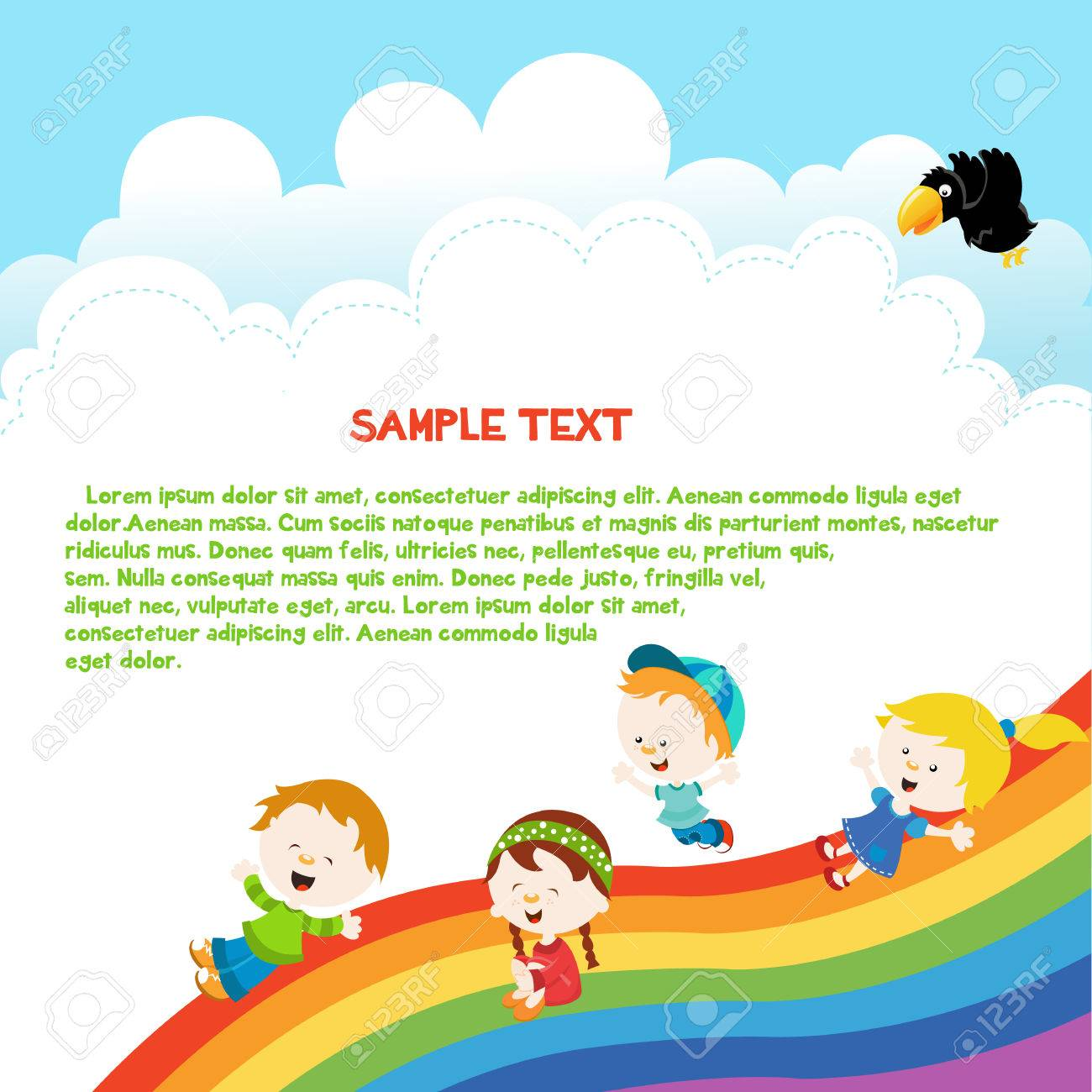 kids enjoying rainbow template royalty free cliparts vectors and