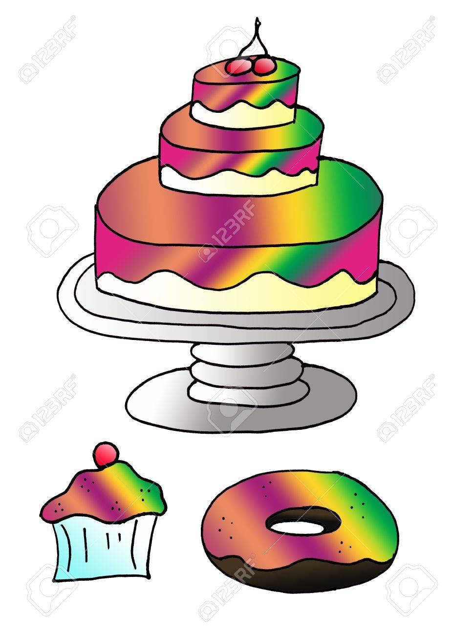 Veranschaulicht Ein Cupcake Ein Kuchen Und Ein Donut Fur Colorful