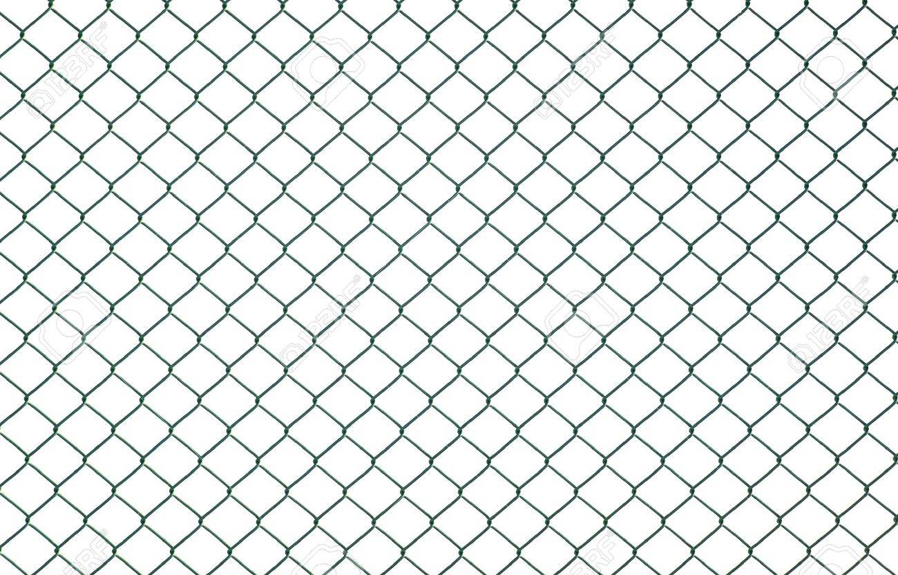 Green chain link fence isolated on white Stock Photo - 8796181