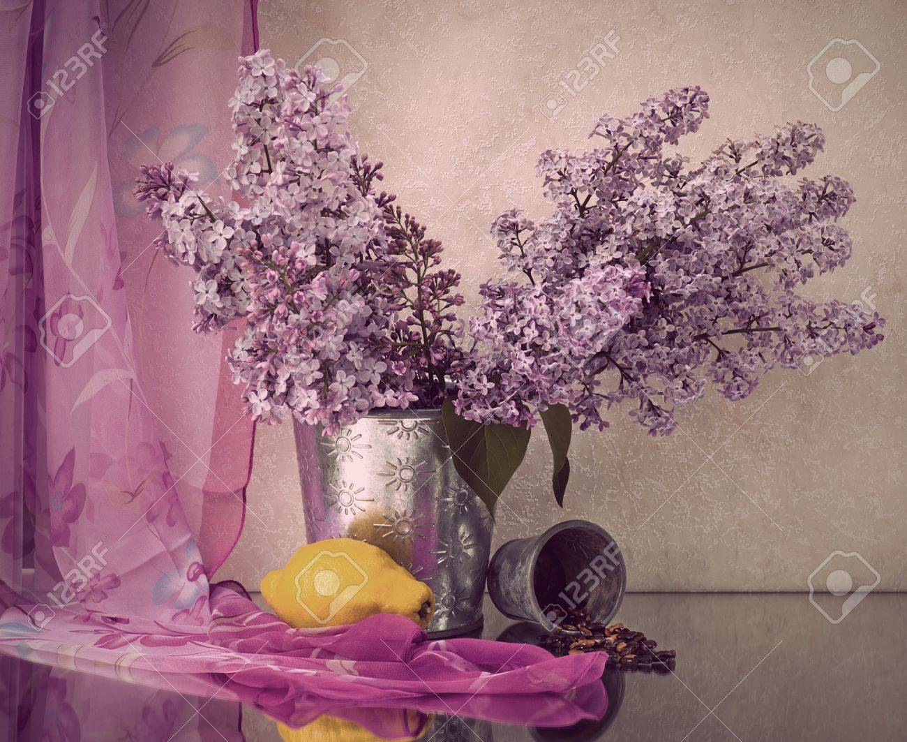 Still life with lilac flowers in a pot Stock Photo - 11888490