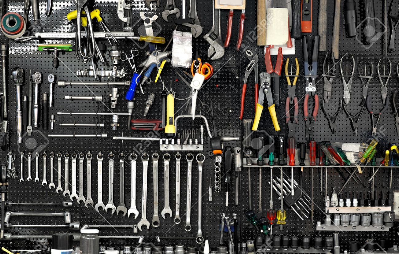 Black Wall With Many Tools In Workshop Stock Photo, Picture And ...
