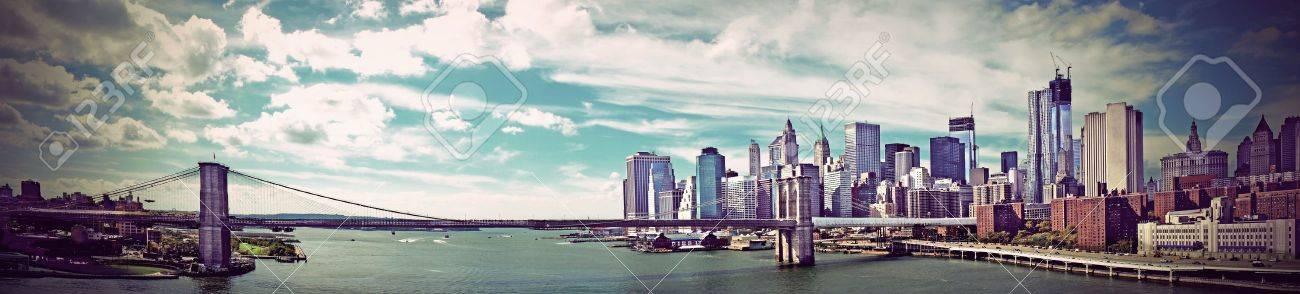 Panoramic view of Brooklyn Bridge in New York, vintate style Stock Photo - 21808137